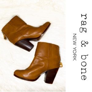 Rag & Bone Tan Leather Ankle Boots
